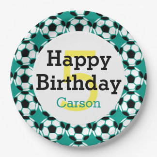 Kids Personalized Soccer Ball Happy Birthday Sport 9 Inch Paper Plate