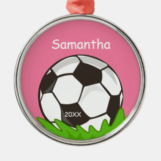Kids Personalized Soccer Ball Pink Christmas Ornament