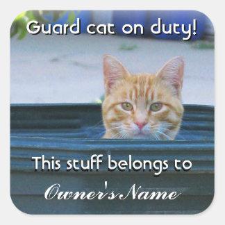 Kid's Personalized Sticker--Guard Cat on Duty Square Sticker