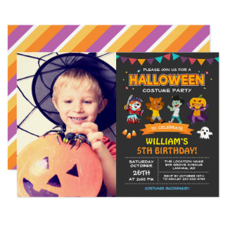 Kids Photo Halloween Birthday Costume Party Invite