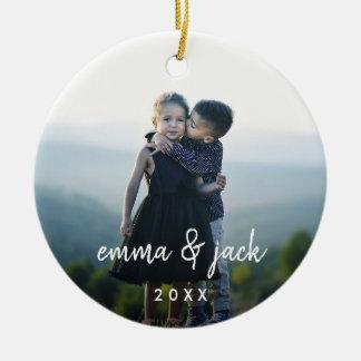 Kids Photo & Name Overlay Christmas Ornament