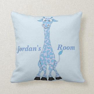 Kid's Pillow Cute Blue Giraffe