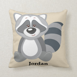 Kid's Pillow Cute Woodland Raccoon