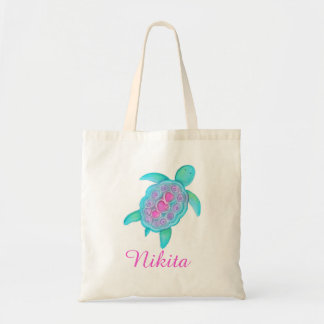 Kids Pink Aqua turtle hearts library bag