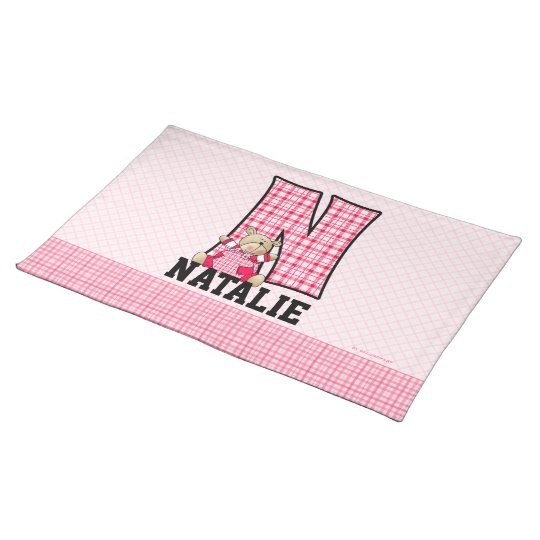 "Kid's Pink Gingham Monogram ""N"" Placemat"