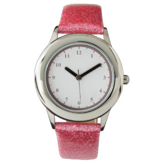 Kid's Pink Glitter Strap Watch And Pink Numbers