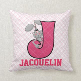 "Kid's Pink Jackrabbit Monogram ""J"" Pillow Cushion"