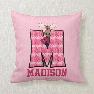 """Kid's Pink Knit Print Moose Monogram """"M"""" Pillow"""