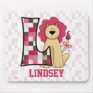 "Kid's Pink Lion Monogram ""L"" Mousepad"