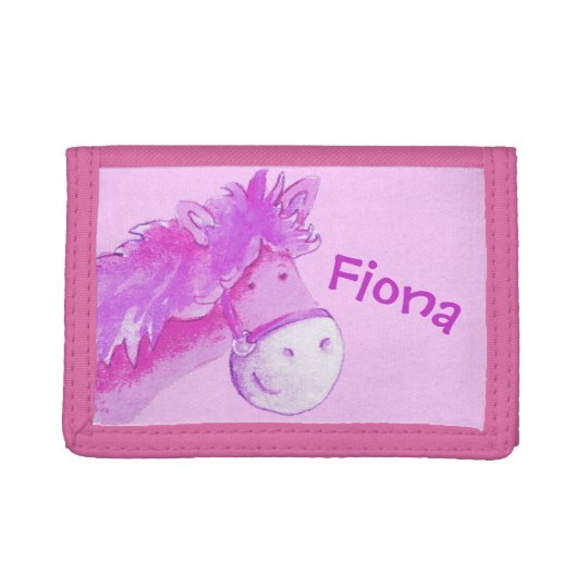Kids Pink pony /horse add your name Tri-fold