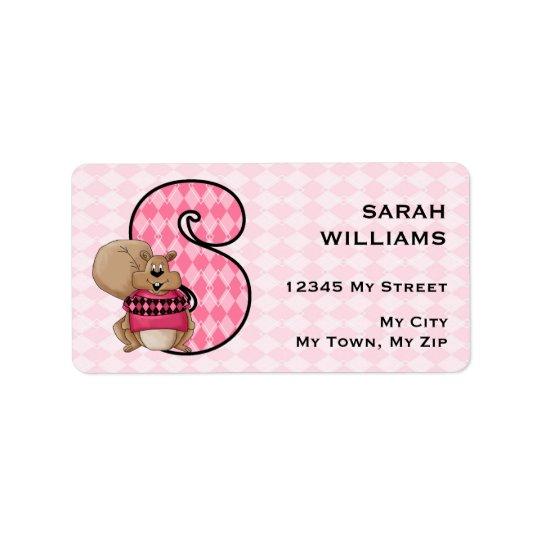 """Kid's Pink Squirrel Monogram """"S"""" Address Labels"""