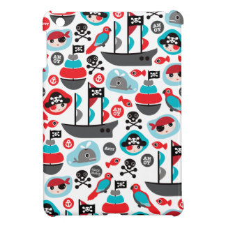 Kids pirate ship parrot and skull art iPad mini case