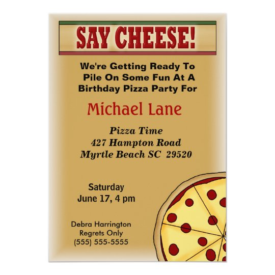 Kids Pizza Birthday Invitation