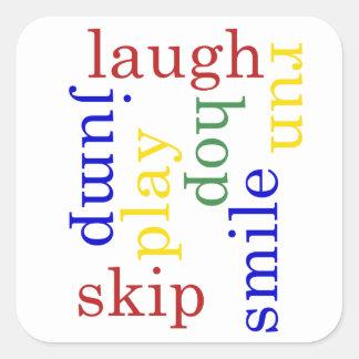 Kids Play, laugh, run, jump Typography sticker
