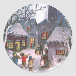 Kids Play Music for Lit Up Town Vintage New Year Round Sticker