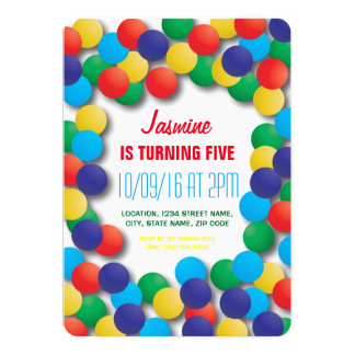 Kids Playhouse Coloured Balls Pit Birthday 13 Cm X 18 Cm Invitation Card
