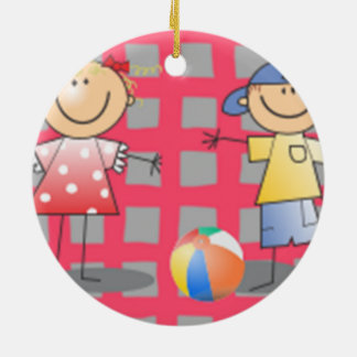 Kids playing ball cartoon art christmas ornament