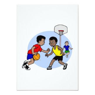 Kids playing basketball personalized invitation