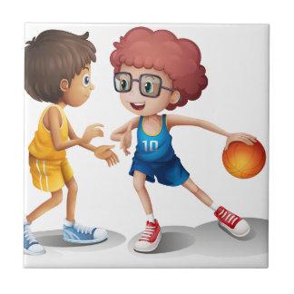 Kids playing basketball small square tile