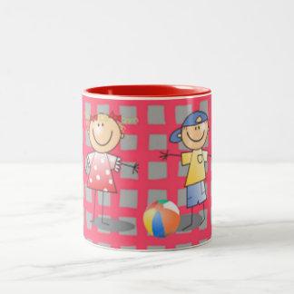 Kids playing children's cute cartoon art Two-Tone mug