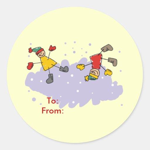 Kids Playing Gift Tags Sticker