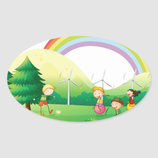 Kids playing in the ground oval sticker