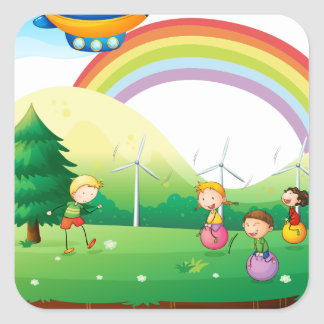 Kids playing in the ground square sticker