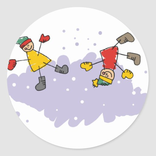 Kids Playing In The Snow Sticker