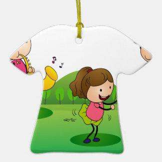 kids playing music ceramic T-Shirt ornament