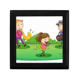 kids playing music small square gift box