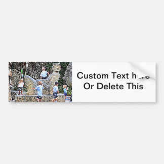 kids playing on statue colored pencil look bumper sticker