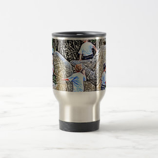 kids playing on statue colored pencil look mugs