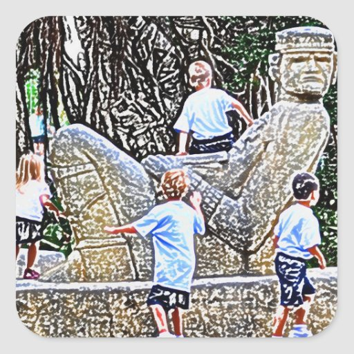 kids playing on statue colored pencil look square sticker