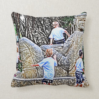 kids playing on statue colored pencil look throw cushion