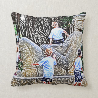 kids playing on statue colored pencil look throw pillow