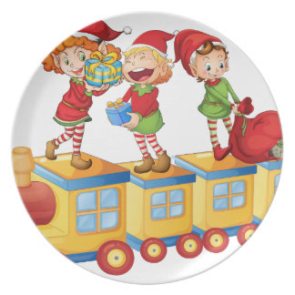 kids playing on train dinner plate