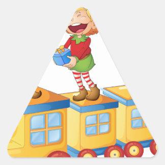 kids playing on train triangle sticker