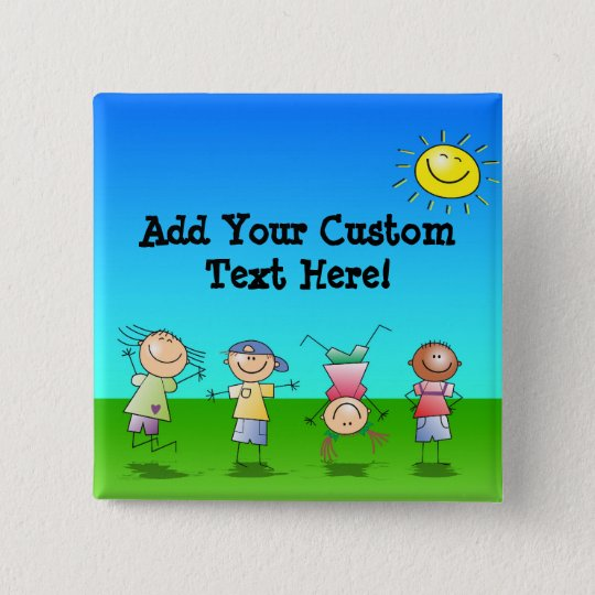 Kids Playing Outdoors on a Sunny Day 15 Cm Square Badge
