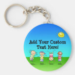 Kids Playing Outdoors on a Sunny Day Basic Round Button Key Ring