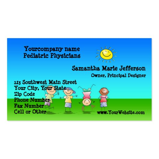 Kids Playing Outdoors on a Sunny Day Business Card Templates