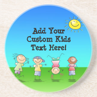 Kids Playing Outdoors on a Sunny Day Beverage Coasters
