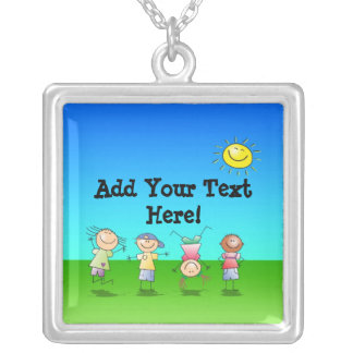 Kids Playing Outdoors on a Sunny Day Pendant