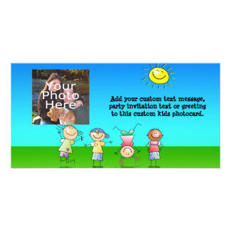 Kids Playing Outdoors on a Sunny Day Personalised Photo Card