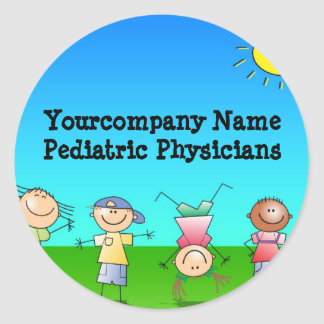 Kids Playing Outdoors on a Sunny Day Round Sticker