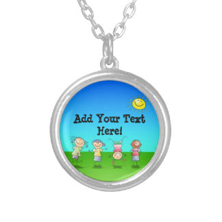 Kids Playing Outdoors on a Sunny Day Silver Plated Necklace
