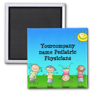 Kids Playing Outdoors on a Sunny Day Square Magnet