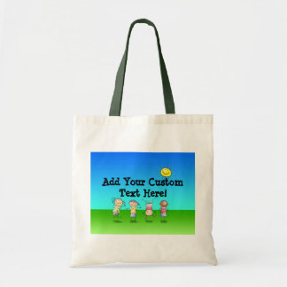 Kids Playing Outdoors on a Sunny Day Tote Bag