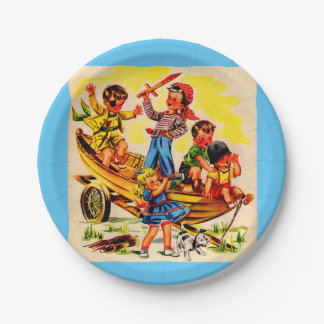 kids playing pirate 7 inch paper plate