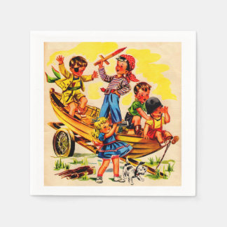kids playing pirate disposable serviettes