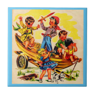 kids playing pirate small square tile